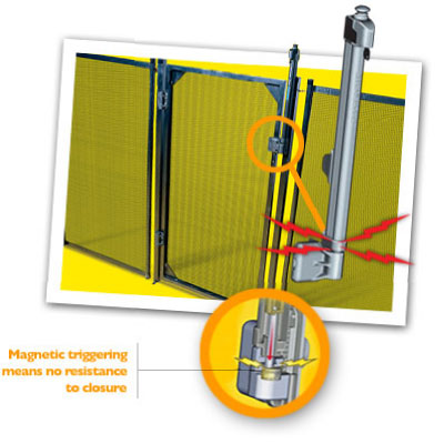 photo of magnetic lock on pool safety fence