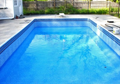 photo of new rectangular pool liner