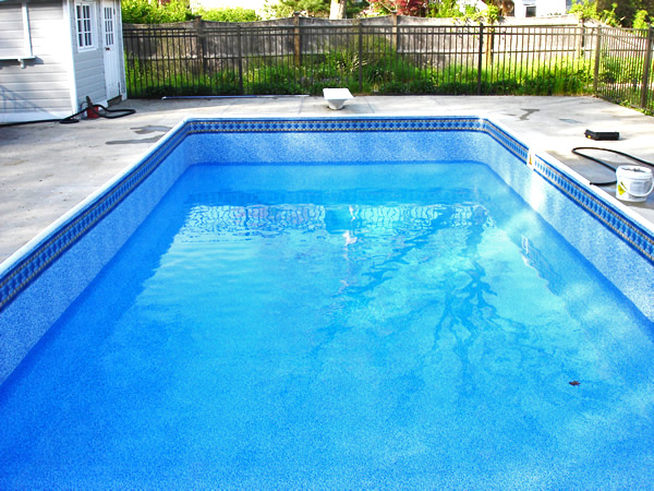 photo of new rectangular pool liner